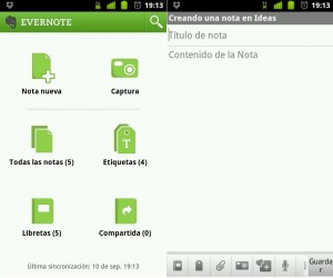 Evernote, app para tomar notas en Android
