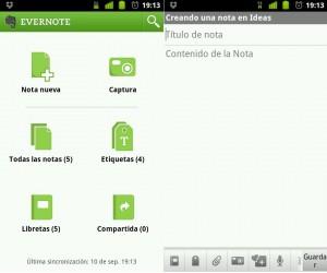 Evernote, app para tomar notas en Android