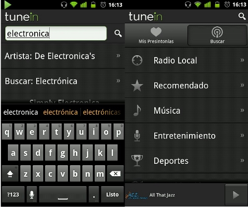 TuneIn, app radio en Android