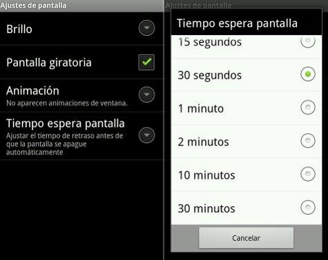 Configurar tiempo de inactividad en Android