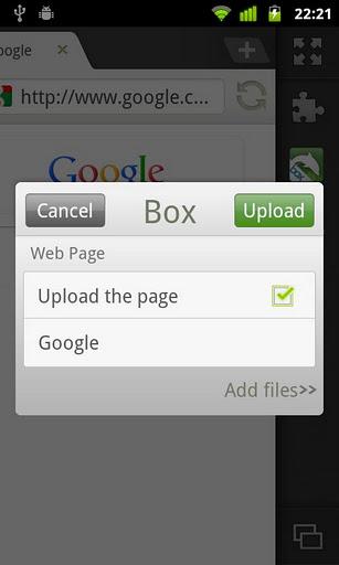Add on de Dolphin Browser para Box.net