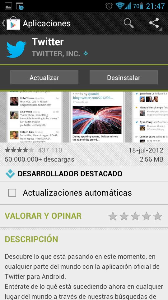 Actualizacion apps ICS automáticamente
