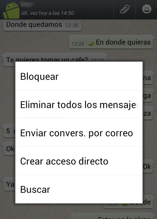 Busquedas de texto en Whatsapp