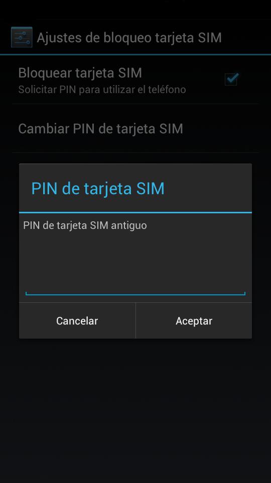 Cambiar el pin de la sim en Android
