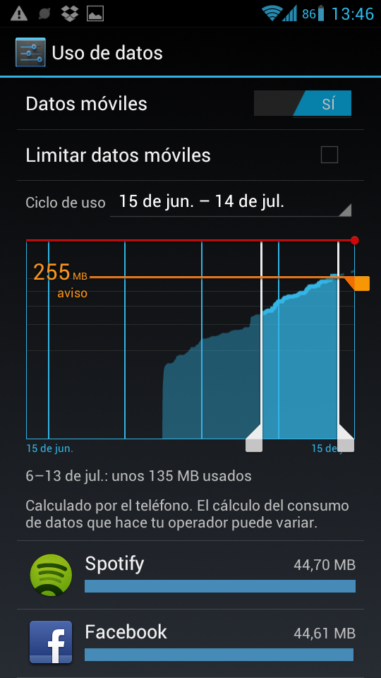 Datos moviles en Android ICS