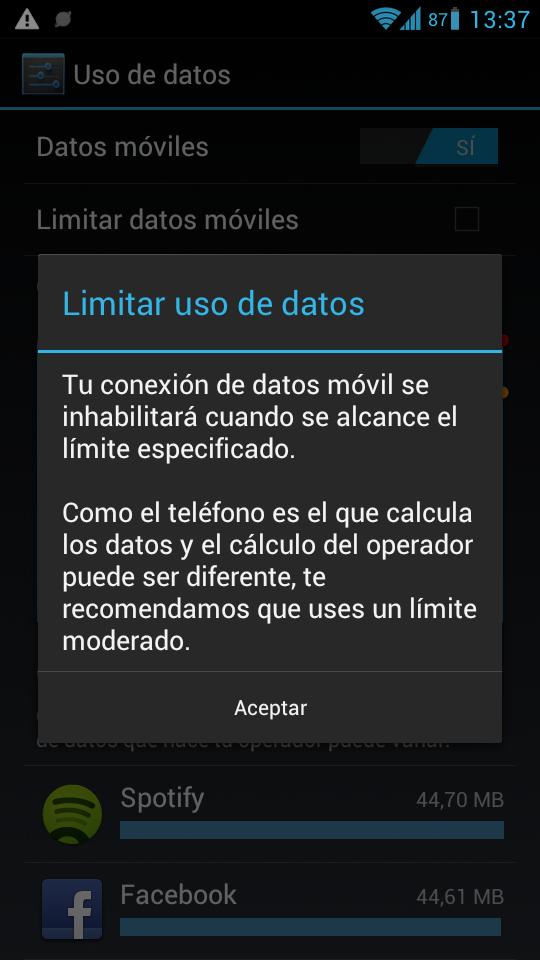 Limitar uso de datos en Android