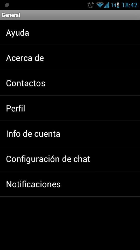 Menu opciones de Whatsapp