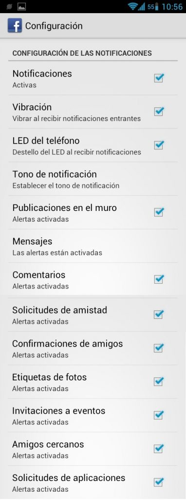 Notificaciones de FB en Android