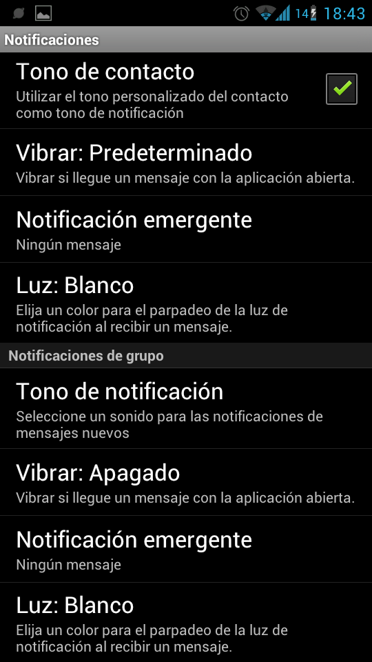 Notificaciones de grupo en Whatsapp