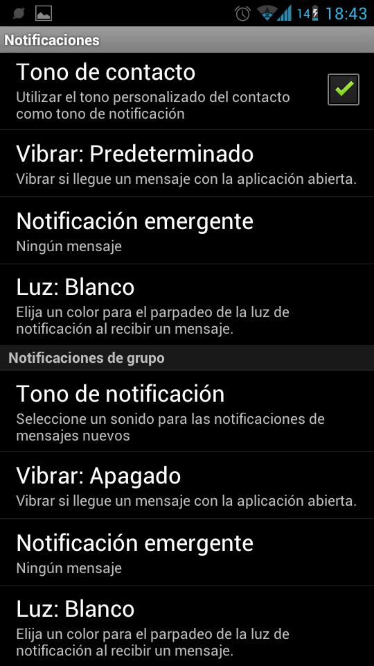 Notificaciones de grupo en Whatsapp