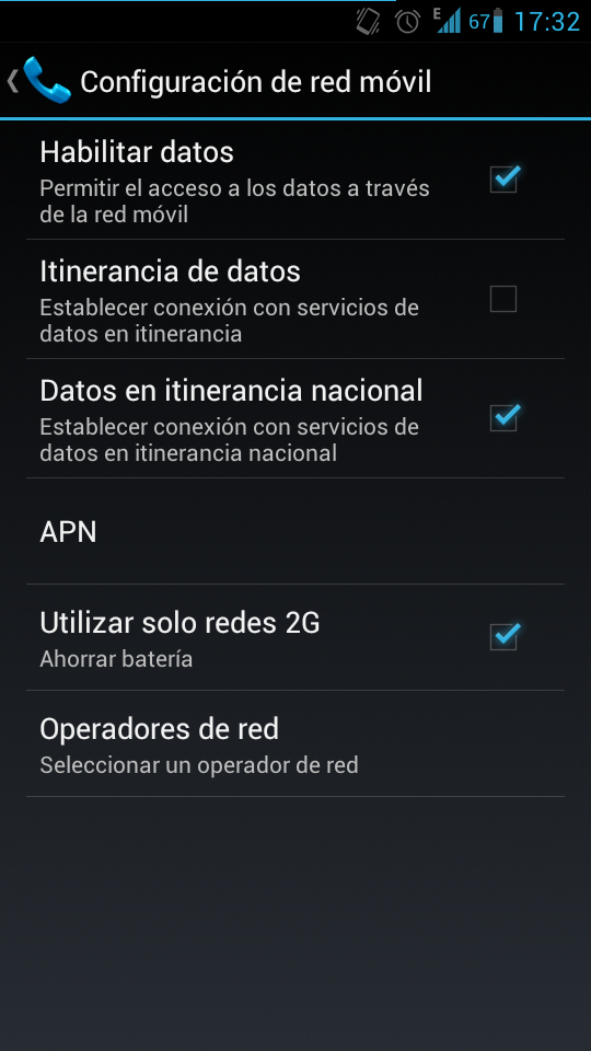 Redes moviles en Android 4.0