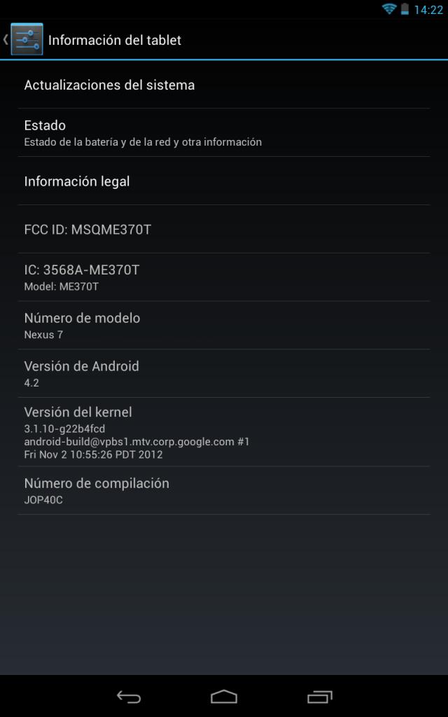 Jelly Bean 4.2 en Nexus 7