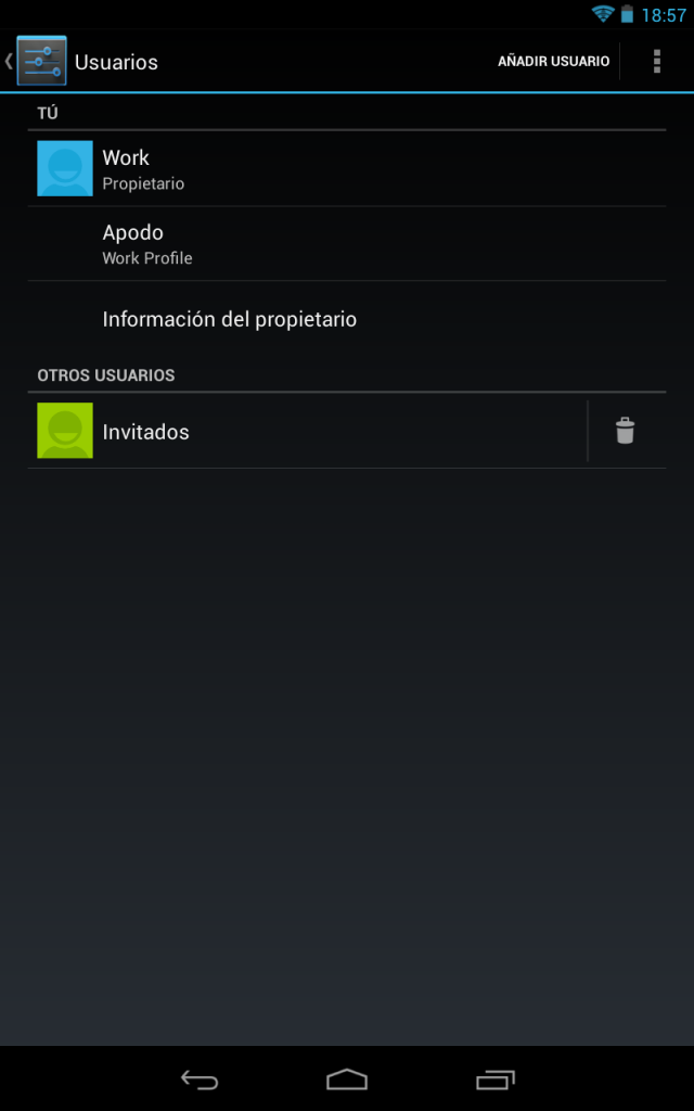 Usuarios en Android Jelly Bean