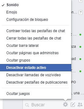 Desactivar hora de conexion en web de facebook