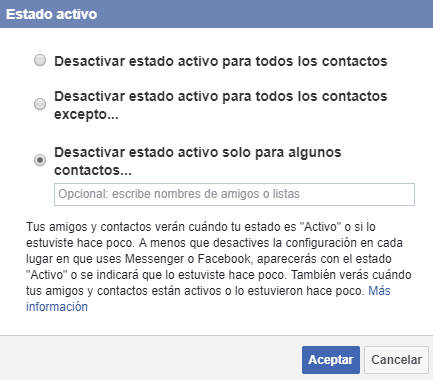 Configurar estado en facebook web