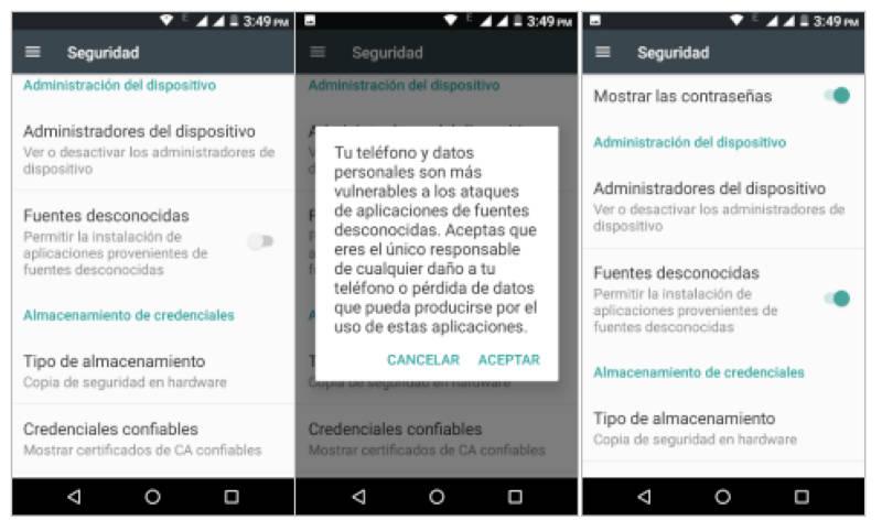 Configuracion seguridad android instalar aplicaciones de terceros
