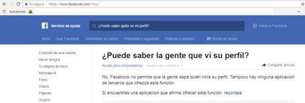Respuesta oficial sitio facebook