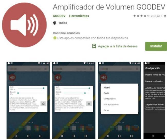 Mejorar volumen auriculares android con Amplificador de Volumen GOODEV