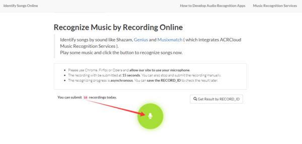 ARCCloud: web para indentificar canciones