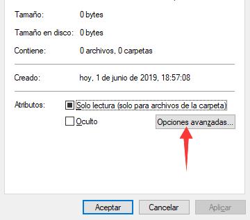 solo lectura windows 10 - opciones avanzadas