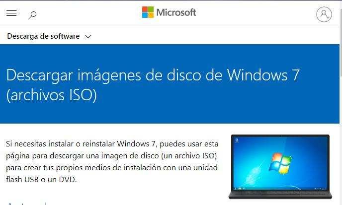 Descargar imagen ISO de Windows 7.